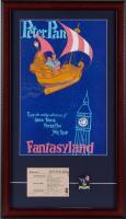 "Disneyland Fantasyland's ""Peter Pan"" 15x26 Custom Framed Print Display with Vintage Adult ""C"" Ticket & Vintage Lapel Pin at PristineAuction.com"