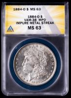 Mint Error - 1884-O Morgan Silver Dollar, Impure Metal Streak, VAM-38 MPD (ANACS MS63) at PristineAuction.com