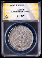 Mint Error - 1886 Morgan Silver Dollar, Lamination, VAM-1 (ANACS AU50) at PristineAuction.com