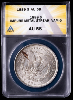 Mint Error - 1889 Morgan Silver Dollar, Impure Metal Streak, VAM-5 (ANACS AU58) at PristineAuction.com