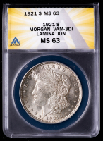 Mint Error - 1921 Morgan Silver Dollar, Lamination, VAM-3DI (ANACS MS63) at PristineAuction.com
