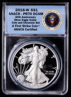 2016-W American Silver Eagle $1 One Dollar Coin - 30th Anniversary, First Strike - Lettered Edge (ANACS PR70 Deep Cameo) at PristineAuction.com