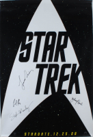 """Star Trek"" Spock Actors 27x40 Movie Poster Signed By (4) with Leonard Nimoy, Stephen Manley, Zachary Quinto & Jacob Kogan (Beckett LOA) (See Description) at PristineAuction.com"