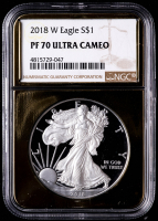 2018-W American Silver Eagle $1 One Dollar Coin - Gold Metallic Holder (NGC PF70 Ultra Cameo) at PristineAuction.com