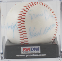 Hall of Famers Baseball Signed by (7) with Lou Brock, Willie Mays, Willie McCovey, Don Drysdale, Hank Aaron with Display Case (PSA LOA) (See Description) at PristineAuction.com