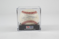 "Joe DiMaggio Signed OAL Baseball Inscribed ""HOF 55"" with Display Case (PSA Hologram) (See Description) at PristineAuction.com"