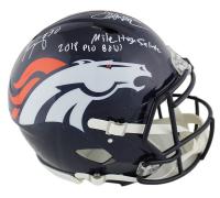 "Phillip Lindsay & Terrell Davis Signed Broncos Full-Size Authentic On-Field Speed Helmet Inscribed ""2018 Pro Bowl"" & ""Mile High Salute"" (Radtke COA & Davis Hologram) at PristineAuction.com"