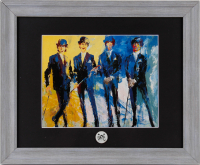 """Leroy Neiman """"The Beatles"""" 13.5x16.5 Custom Framed Print Display with Vintage 1964 Beatles Lapel Pin at PristineAuction.com"""
