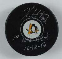 "Kris Letang Signed Penguins Logo Hockey Puck Inscribed ""1st NHL Goal 10-12-86"" (Letang COA) at PristineAuction.com"
