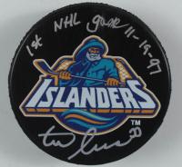 "Zdeno Chara Signed Throwback Islanders Logo Hockey Puck Inscribed ""1st NHL Game 11-19-97"" (Chara COA) at PristineAuction.com"