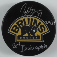 "Patrice Bergeron Signed LE Bruins Logo Hockey Puck Inscribed ""20th Bruins Captain"" (Bergeron COA) at PristineAuction.com"