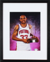 Grant Hill Signed Pistons 12x15 Custom Framed Photo Display (PSA COA) (See Description) at PristineAuction.com