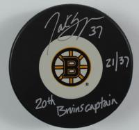 "Patrice Bergeron Signed LE Bruins Logo Hockey Puck Inscribed ""20th Bruins Captain"" (Bergeron COA) at PristineAuction.com"
