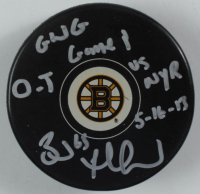 Brad Marchand Signed Bruins Logo Hockey Puck with Multiple Inscriptions (Marchand COA) at PristineAuction.com