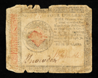 1779 $4 Four Dollars Continental Currency Note at PristineAuction.com