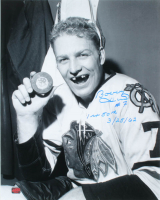 "Bobby Hull Signed Blackhawks 16x20 Photo Inscribed ""1st 50th 3/25/62"" (Hull COA) at PristineAuction.com"