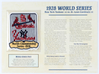 1928 Commemorative World Series Card with Patch: Yankees vs Cardinals at PristineAuction.com