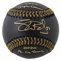 "Shane Bieber Signed Black Leather OML Baseball Inscribed ""2020 Triple Crown"" & ""2020 AL CY Young"" (Beckett COA) at PristineAuction.com"