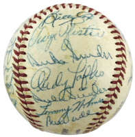 1952-69 Dodgers ONL Baseball Signed by (26) with Jackie Robinson, Pee Wee Reese, Roy Campanella, Rocky Bridges (PSA LOA) (See Description) at PristineAuction.com