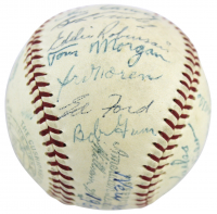 1954-58 Yankees OAL Baseball Signed by (27) with Yogi Berra.Whitey Ford. Phil Rizzuto, Mickey Mantle (JSA LOA) (See Description) at PristineAuction.com