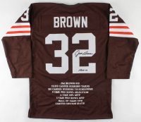 "Jim Brown Signed Career Stat Highlight Jersey Inscribed ""HOF 71"" (JSA Hologram) (See Description) at PristineAuction.com"