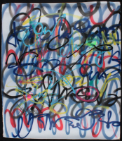 """Tadas Zaicikas Signed """"Ultra Lines #45"""" 36x41 Painting On Canvas (PA LOA) at PristineAuction.com"""