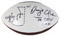 "Dwight Clark Signed 49ers Logo Football Inscribed ""The Catch 1.10.82"" With Hand-Drawn Play (Fanatics Hologram) at PristineAuction.com"