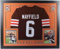 Baker Mayfield Signed 35x43 Custom Framed Jersey (Beckett COA) (See Description) at PristineAuction.com