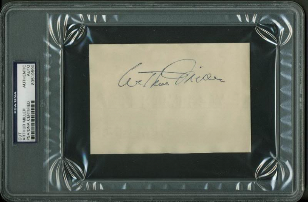 Arthur Miller Signed 3.5x5.25 Cut (PSA Encapsulated) at PristineAuction.com