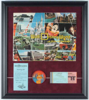 Vintage Walt Disney World 16x18 Custom Framed Souvenir Guide Display With Ticket Book, Parking Pass & Disney World Pin at PristineAuction.com