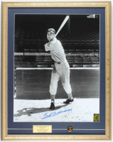 Ted Williams Signed Red Sox 19x24 Custom Framed Photo Display With Vintage Red Sox Lapel Pin (PSA LOA & Williams COA) at PristineAuction.com