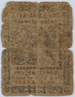1775 $5 Five Dollars - Philadelphia - Colonial Currency Note at PristineAuction.com