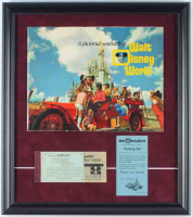 Vintage Walt Disney World 16x18 Custom Framed Souvenir Guide Display With Ticket Book & Parking Pass at PristineAuction.com
