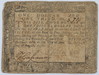 1776 $1 1/3 One Dollar & One Third of a Dollar - Maryland - Colonial Paper Currency Note at PristineAuction.com
