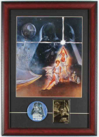 """""""Star Wars: A New Hope"""" 14x19.5 Custom Framed Foreign Print Display with 23 KT Gold Card & Vintage 1977 Lapel Pin at PristineAuction.com"""