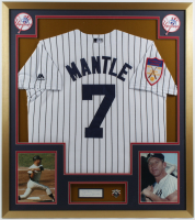 "Mickey Mantle Signed 32x36 Custom Framed Cut Display Inscribed ""My Best Wishes"" with 1951 Rookie Year Throwback Jersey & 1962 World Series Champions Pin (JSA ALOA) at PristineAuction.com"