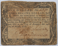 1776 $1 One Dollar - Maryland - Colonial Paper Currency Note at PristineAuction.com