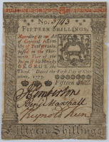 1773 Pennsylvania 15s. Fifteen-Shillings Colonial Currency Note at PristineAuction.com