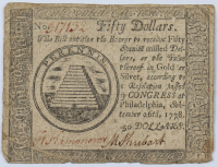 1778 $50 Fifty Dollars - Philadelphia - Colonial Paper Currency Note at PristineAuction.com