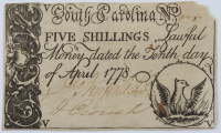 1778 South Carolina 5s. Five-Shillings Colonial Currency Note at PristineAuction.com