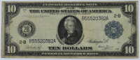 1914 $10 Ten Dollars U.S. Blue Seal Federal Reserve Large Size Bank Note at PristineAuction.com