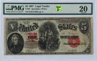 1907 $5 Five-Dollars Red Seal U.S. Legal Tender Large-Size Bank Note (PMG 20) at PristineAuction.com