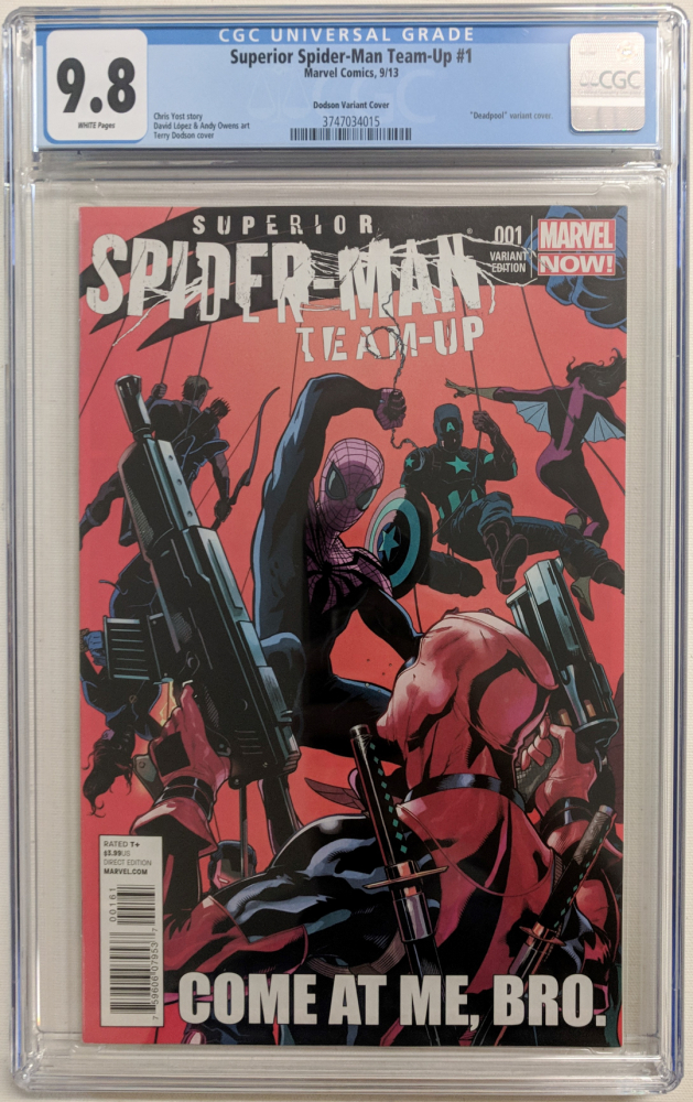 """2013 """"Superior Spider-Man Team-Up"""" Issue #1 Terry Dodson Variant Marvel Comic Book (CGC 9.8) at PristineAuction.com"""