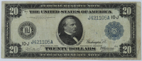 1914 $20 Twenty Dollars Blue Seal U.S. Legal Tender Note at PristineAuction.com