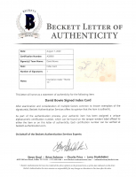 """David Bowie Signed 3x5 Index Card Inscribed """"Thanks 77"""" (Beckett LOA) (See Description) at PristineAuction.com"""