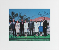 Former U.S. Presidents & First Ladies 11.25x13.25 Custom Matted Photo Display Signed Multi-Signed by (8) with Gerald Ford, Richard Nixon, George H. W. Bush, Ronald Reagan (Beckett LOA) at PristineAuction.com