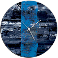 Blue Line 22x22 Circle Clock by Mendo Vasilevski at PristineAuction.com