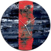 Red Line 22x22 Circle Clock by Mendo Vasilevski at PristineAuction.com