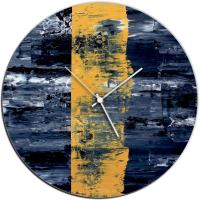 Yellow Line 22x22 Circle Clock by Mendo Vasilevski at PristineAuction.com