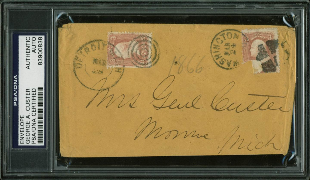 George A. Custer Signed Envelope With Multiple Inscriptions (PSA Encapsulated) at PristineAuction.com